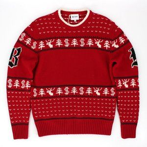 Brioni Wool Red/White Christmas Sweater 54 Italy